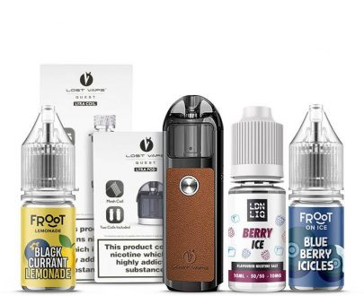 Lyra Pod Kit Black Leather Starter Bundle - Coils And E-Liquid Pack LVVBB4LPKBA28