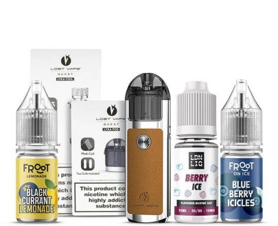 Lyra Pod Kit Silver Leather Starter Bundle - Coils And E-Liquid Pack LVBU61LPK21D1